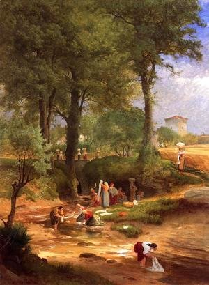 George Inness - Washing Day near Perugia (or Italian Washerwomen)
