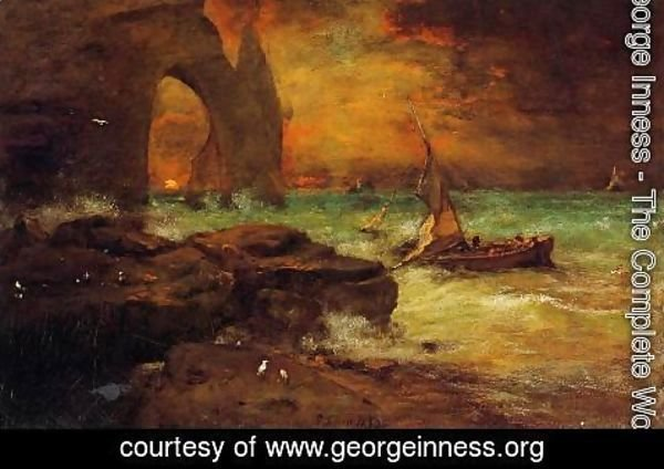 George Inness - Sunset, Etretat