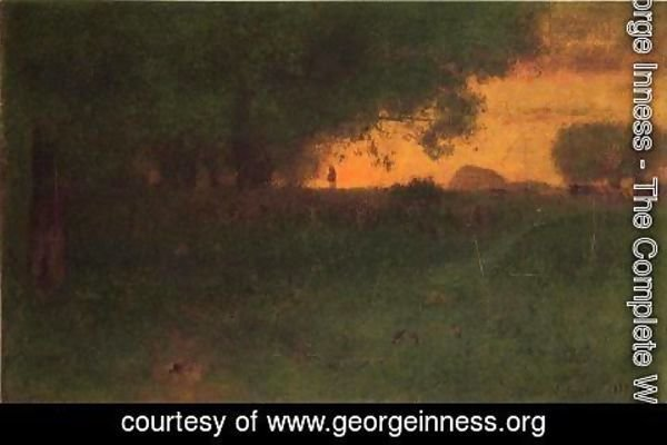 George Inness - Sunset Landscape