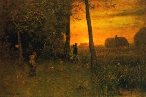 George Inness - The Bathers