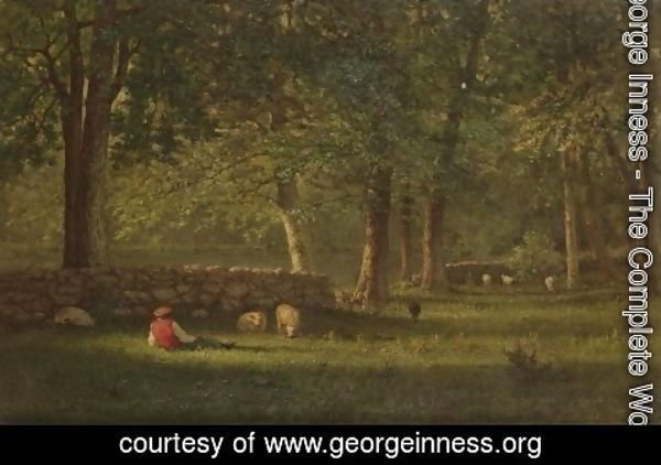 George Inness - Wood Interior - Sheep