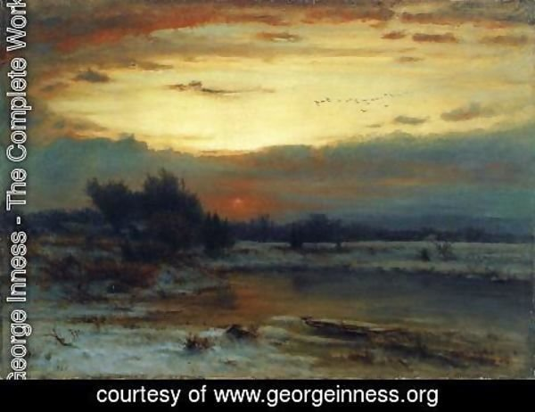 George Inness - Winter, Close of Day (aka A Winter Day)