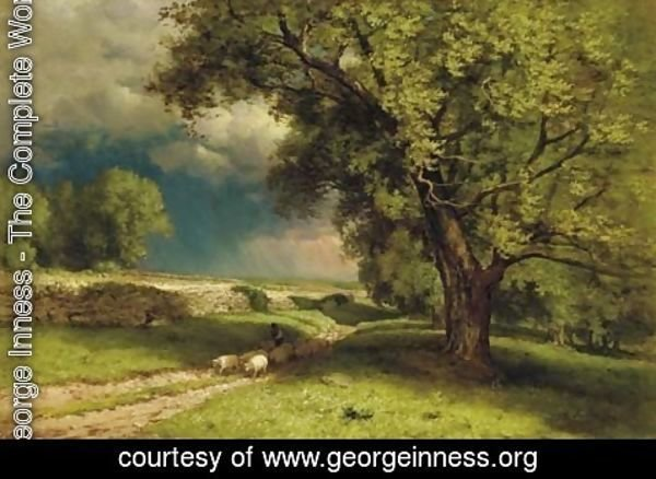 George Inness - Landscape with Sheep 2