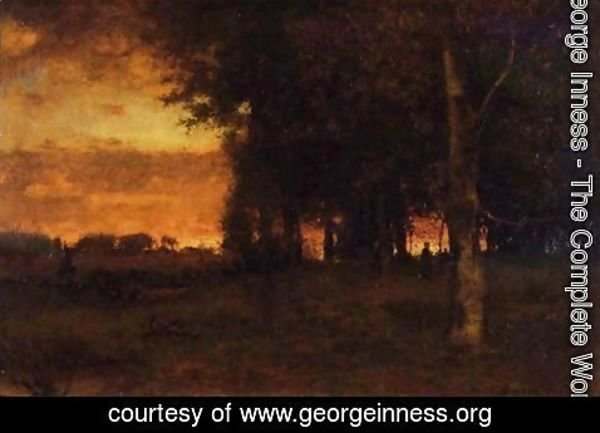 George Inness - A Glowing Sunset