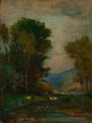 George Inness - Cows by a Stream