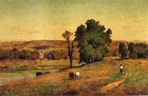 George Inness - Landscape With Figure