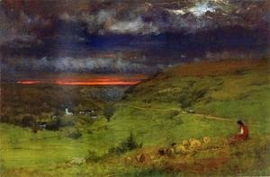 George Inness - Sunset At Etretat