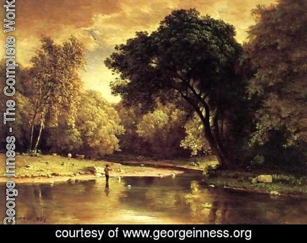 George Inness - Fisherman In A Stream