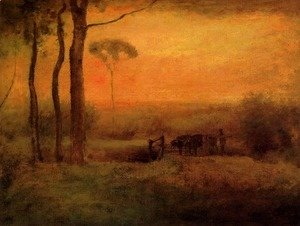George Inness - Pastoral Landscape At Sunset